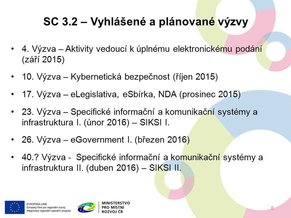 4. Výzva – Aktivity vedoucí k úplnému elektronickému podání (září 2015) 10. Výzva – Kybernetická bezpečnost (říjen 2015) 17. Výzva – eLegislativa, eSb