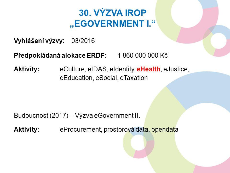 "30. VÝZVA IROP ""EGOVERNMENT I."" Vyhlášení výzvy: 03/2016 Předpokládaná alokace ERDF:1 860 000 000 Kč Aktivity:eCulture, eIDAS, eIdentity, eHealth, eJu"