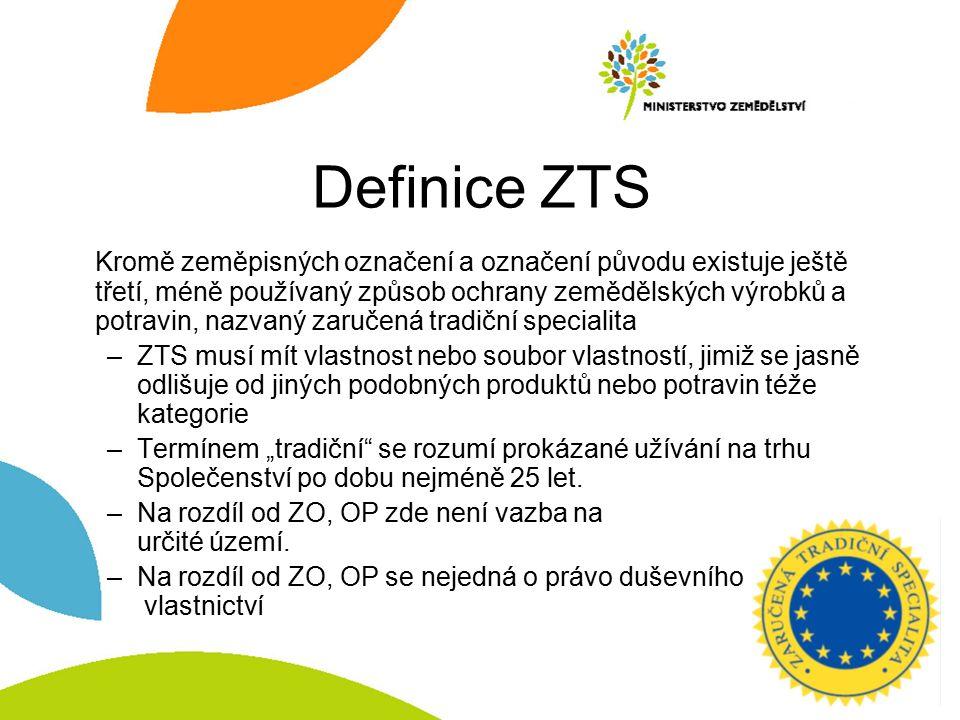 Definice ZTS Kromě zeměpisných označení a označení původu existuje ještě třetí, méně používaný způsob ochrany zemědělských výrobků a potravin, nazvaný