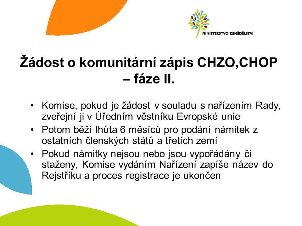 Žádost o komunitární zápis CHZO,CHOP – fáze II. Komise, pokud je žádost v souladu s nařízením Rady, zveřejní ji v Úředním věstníku Evropské unie Potom