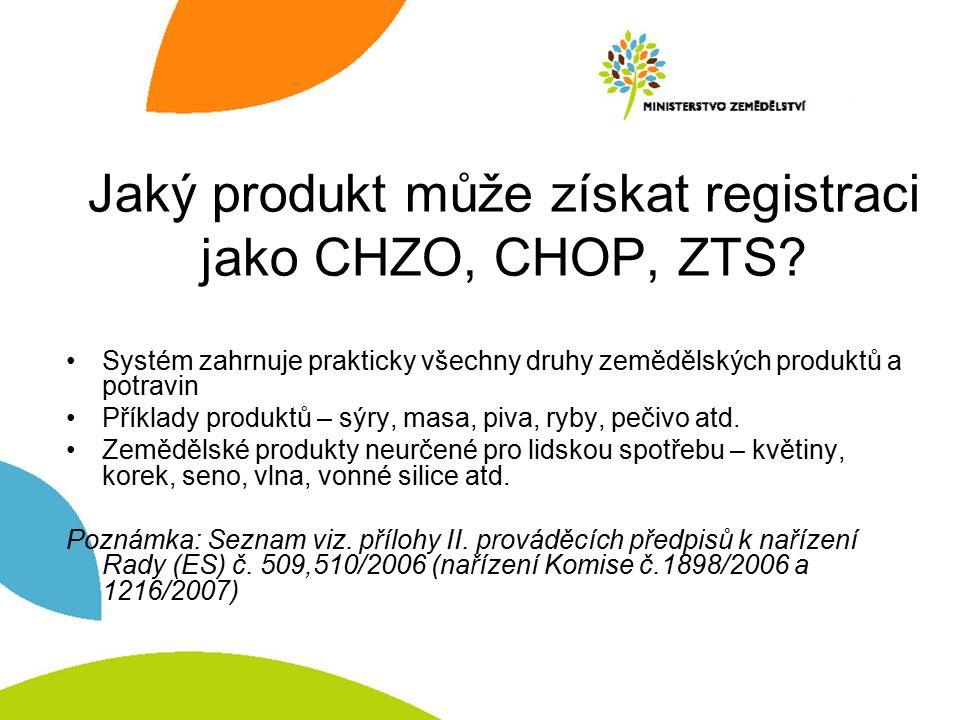 Jaký produkt může získat registraci jako CHZO, CHOP, ZTS? Systém zahrnuje prakticky všechny druhy zemědělských produktů a potravin Příklady produktů –
