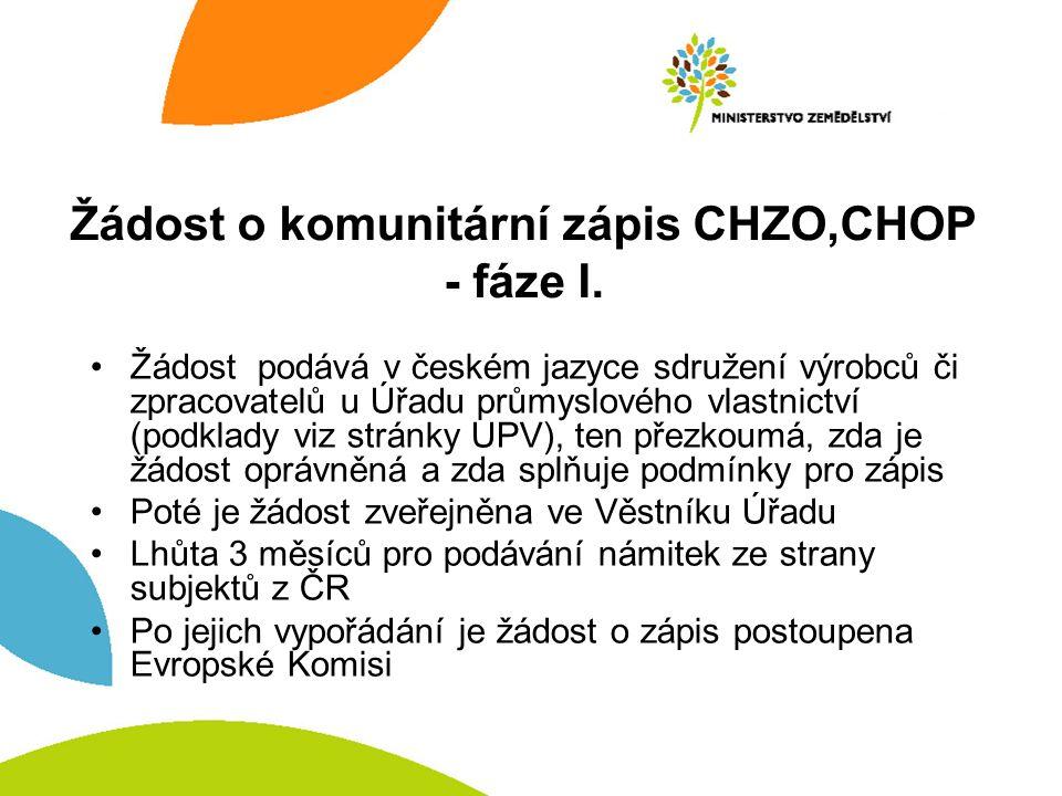 Žádost o komunitární zápis CHZO,CHOP - fáze I. Žádost podává v českém jazyce sdružení výrobců či zpracovatelů u Úřadu průmyslového vlastnictví (podkla