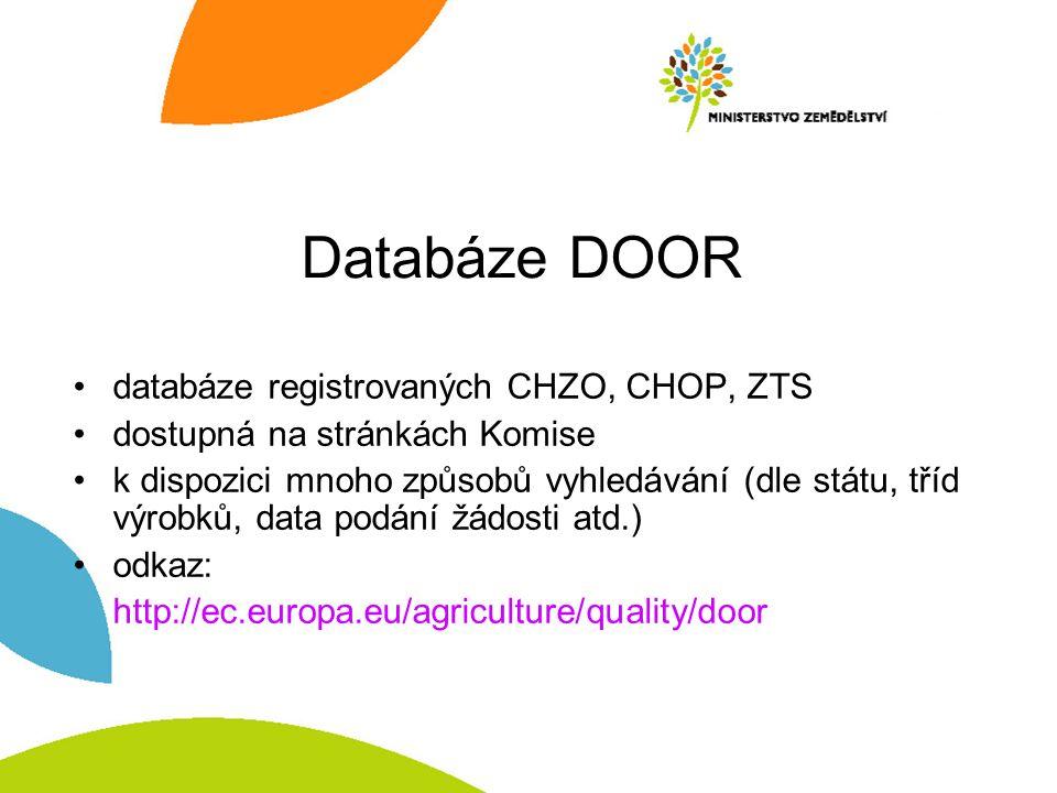 Databáze DOOR databáze registrovaných CHZO, CHOP, ZTS dostupná na stránkách Komise k dispozici mnoho způsobů vyhledávání (dle státu, tříd výrobků, dat