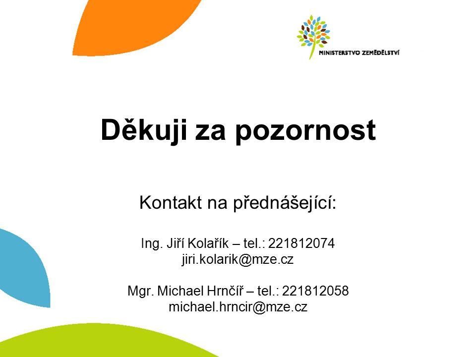 Děkuji za pozornost Kontakt na přednášející: Ing. Jiří Kolařík – tel.: 221812074 jiri.kolarik@mze.cz Mgr. Michael Hrnčíř – tel.: 221812058 michael.hrn