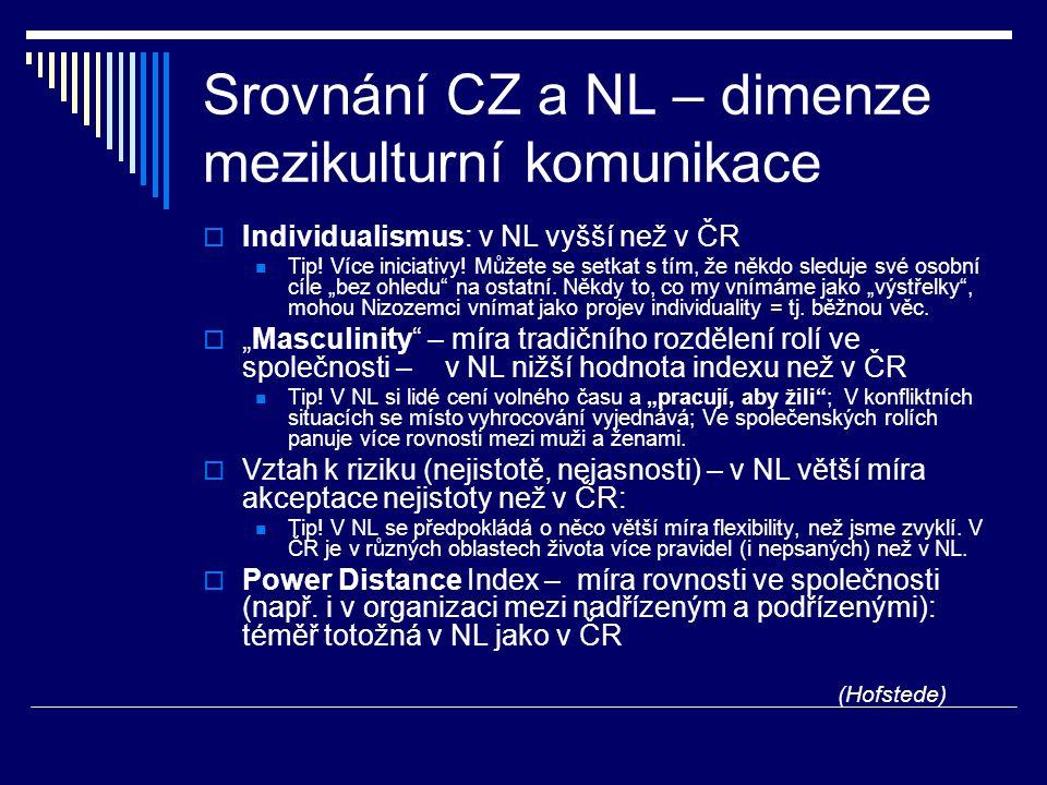 Srovnání CZ a NL – dimenze mezikulturní komunikace  Individualismus: v NL vyšší než v ČR Tip! Více iniciativy! Můžete se setkat s tím, že někdo sledu