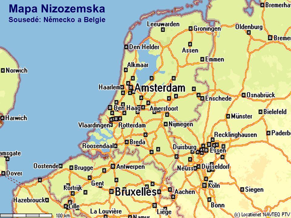 Mapa Nizozemska Sousedé: Německo a Belgie