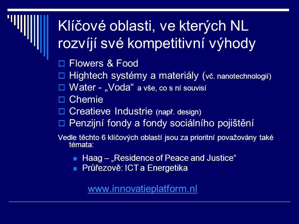 """Klíčové oblasti, ve kterých NL rozvíjí své kompetitivní výhody  Flowers & Food  Hightech systémy a materiály ( vč. nanotechnologií)  Water - """"Voda"""""""