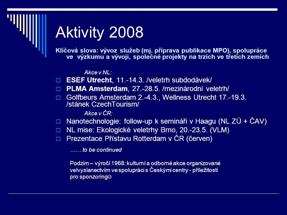 Aktivity 2008 Klíčová slova: vývoz služeb (mj. příprava publikace MPO), spolupráce ve výzkumu a vývoji, společné projekty na trzích ve třetích zemích