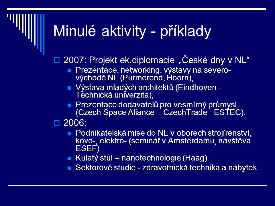 """Minulé aktivity - příklady  2007: Projekt ek.diplomacie """"České dny v NL"""" Prezentace, networking, výstavy na severo- východě NL (Purmerend, Hoorn), Vý"""
