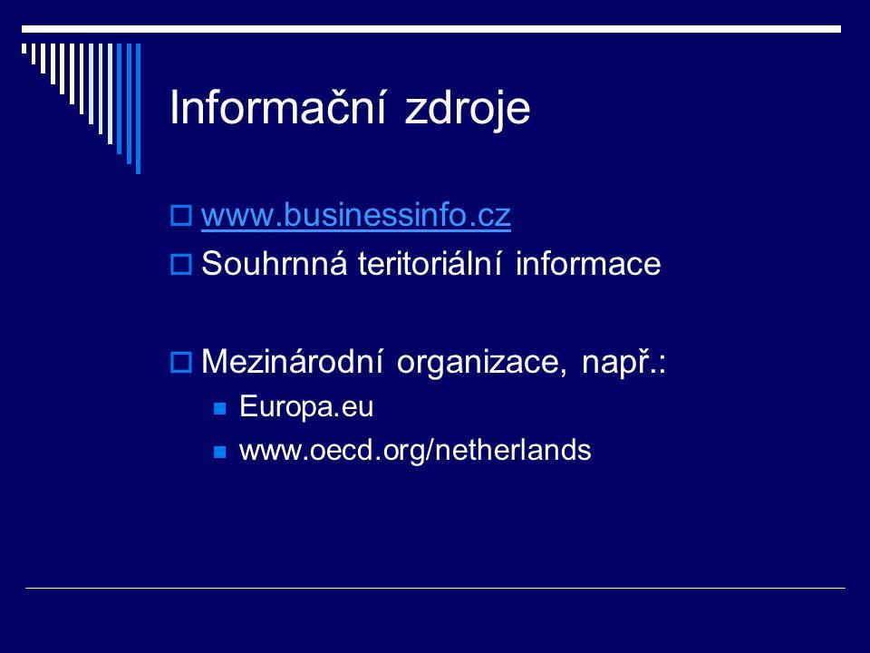 Informační zdroje  www.businessinfo.cz www.businessinfo.cz  Souhrnná teritoriální informace  Mezinárodní organizace, např.: Europa.eu www.oecd.org/