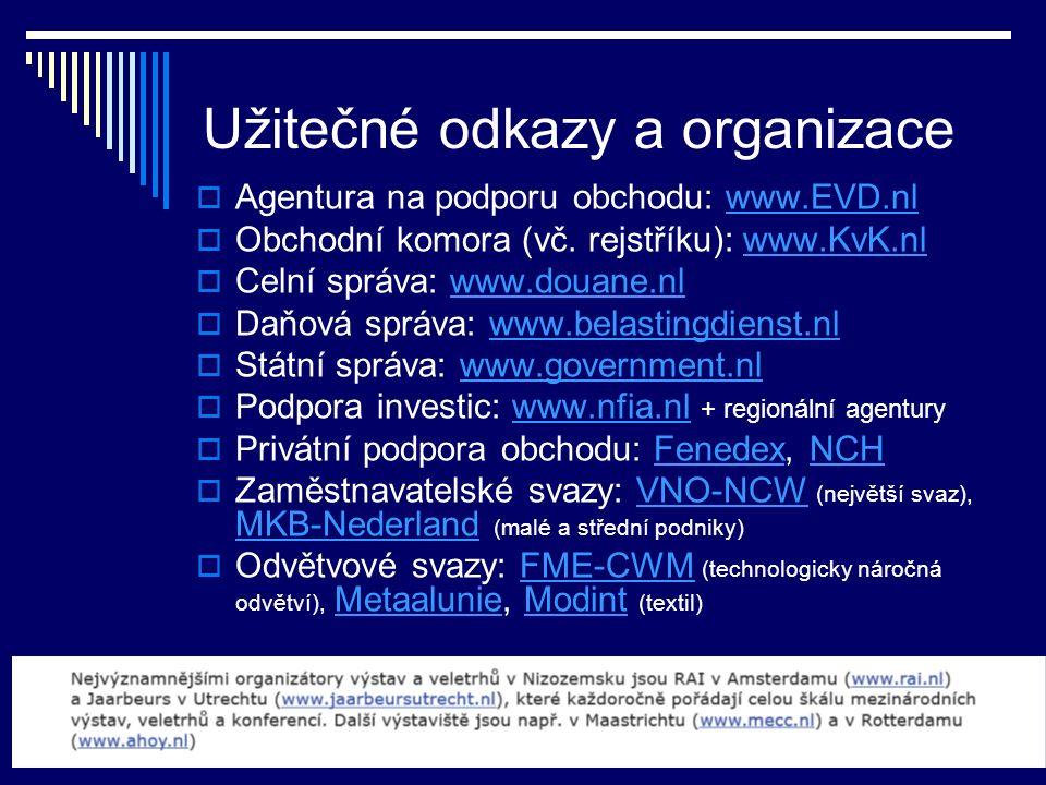 Užitečné odkazy a organizace  Agentura na podporu obchodu: www.EVD.nlwww.EVD.nl  Obchodní komora (vč. rejstříku): www.KvK.nlwww.KvK.nl  Celní správ