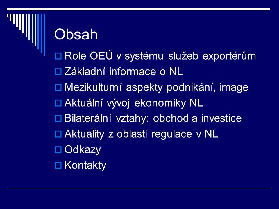 Obsah  Role OEÚ v systému služeb exportérům  Základní informace o NL  Mezikulturní aspekty podnikání, image  Aktuální vývoj ekonomiky NL  Bilater