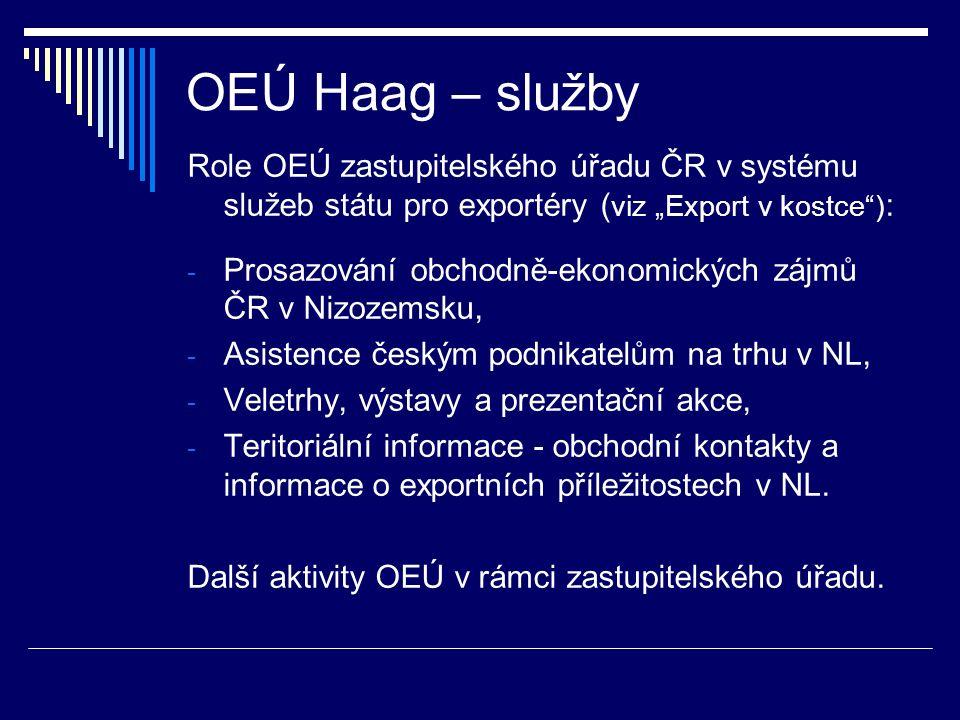 """OEÚ Haag – služby Role OEÚ zastupitelského úřadu ČR v systému služeb státu pro exportéry ( viz """"Export v kostce"""") : - Prosazování obchodně-ekonomickýc"""