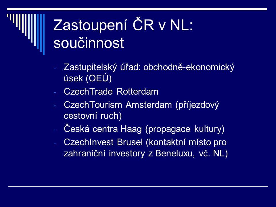 Zastoupení ČR v NL: součinnost - Zastupitelský úřad: obchodně-ekonomický úsek (OEÚ) - CzechTrade Rotterdam - CzechTourism Amsterdam (příjezdový cestov