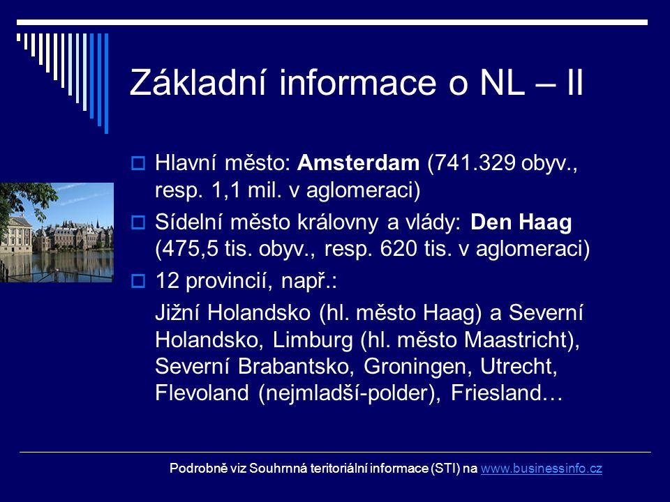 Základní informace o NL – II  Hlavní město: Amsterdam (741.329 obyv., resp. 1,1 mil. v aglomeraci)  Sídelní město královny a vlády: Den Haag (475,5