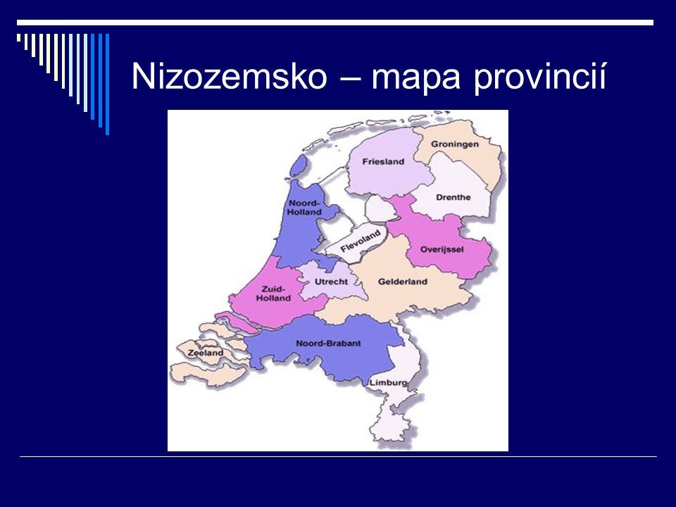 Nizozemsko – mapa provincií