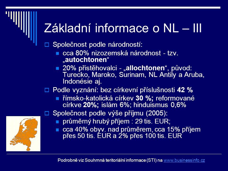 """Základní informace o NL – III  Společnost podle národností: cca 80% nizozemská národnost - tzv. """"autochtonen"""" 20% přistěhovalci - """"allochtonen"""", půvo"""