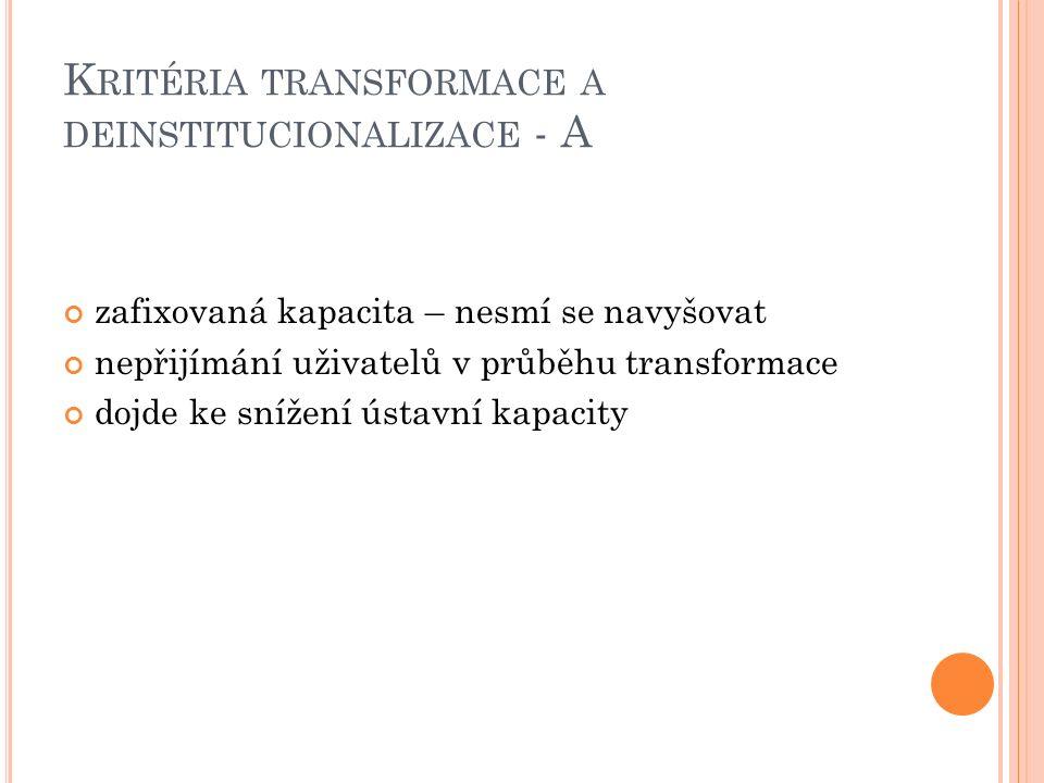K RITÉRIA TRANSFORMACE A DEINSTITUCIONALIZACE - A zafixovaná kapacita – nesmí se navyšovat nepřijímání uživatelů v průběhu transformace dojde ke snížení ústavní kapacity