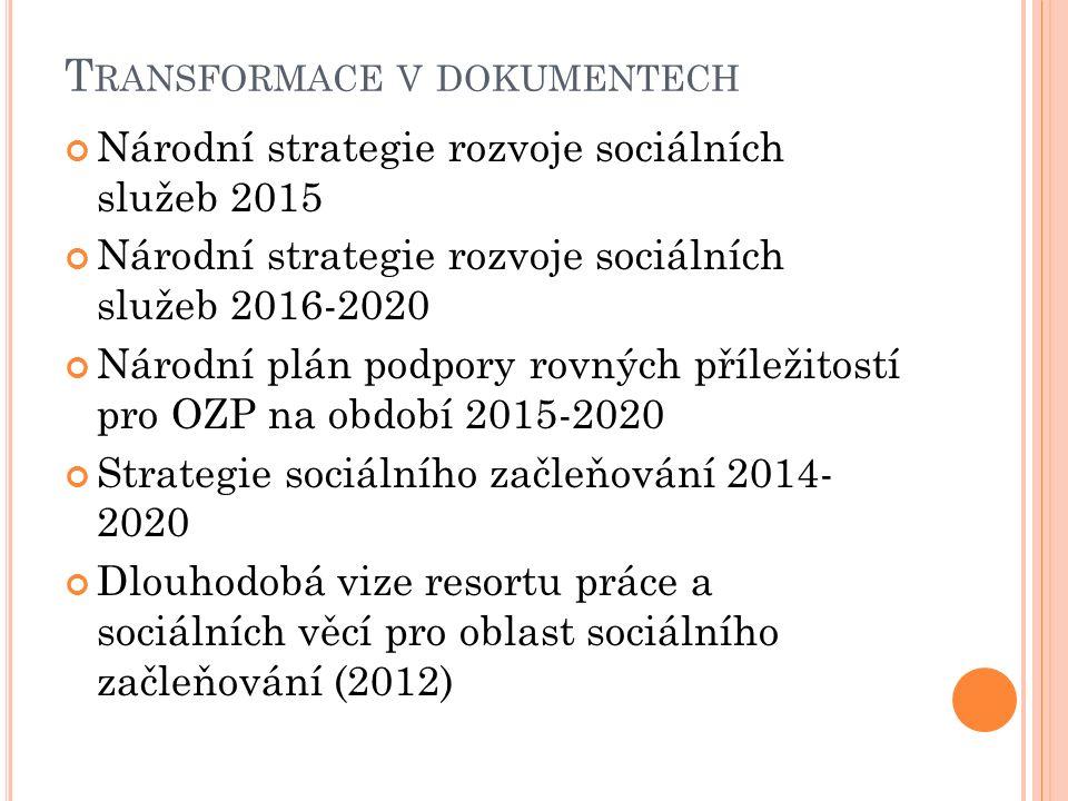 T RANSFORMACE V DOKUMENTECH Národní strategie rozvoje sociálních služeb 2015 Národní strategie rozvoje sociálních služeb 2016-2020 Národní plán podpory rovných příležitostí pro OZP na období 2015-2020 Strategie sociálního začleňování 2014- 2020 Dlouhodobá vize resortu práce a sociálních věcí pro oblast sociálního začleňování (2012)