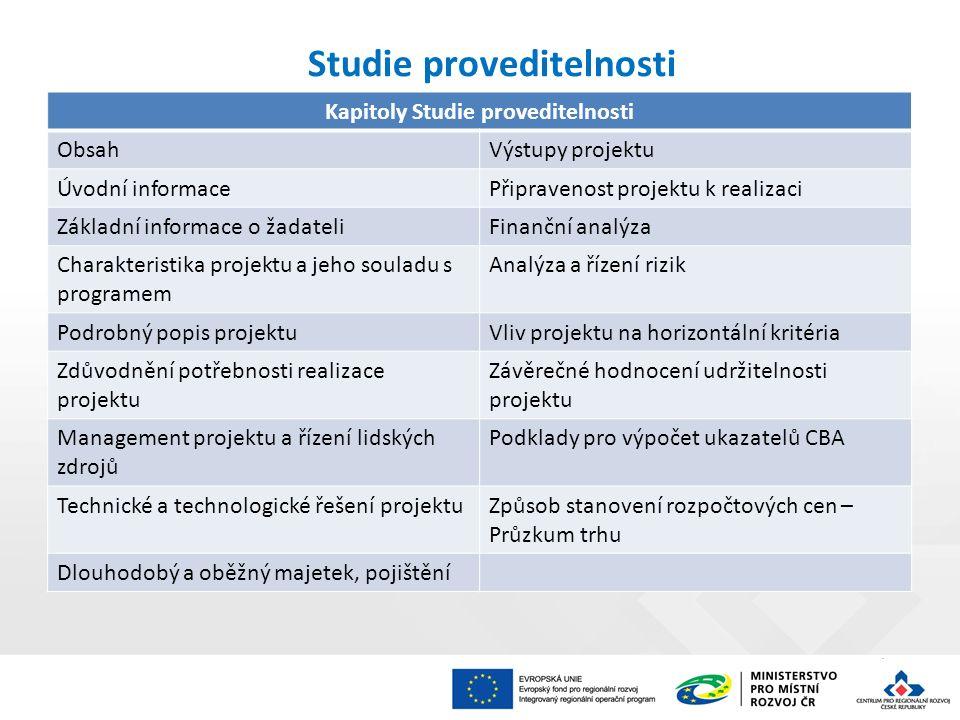 Studie proveditelnosti Kapitoly Studie proveditelnosti ObsahVýstupy projektu Úvodní informacePřipravenost projektu k realizaci Základní informace o ža