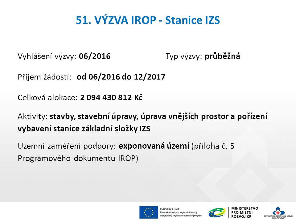 51. VÝZVA IROP - Stanice IZS Vyhlášení výzvy: 06/2016Typ výzvy: průběžná Příjem žádostí: od 06/2016 do 12/2017 Celková alokace: 2 094 430 812 Kč Aktiv