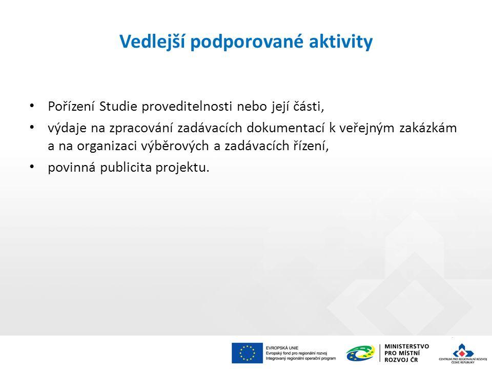Vedlejší podporované aktivity Pořízení Studie proveditelnosti nebo její části, výdaje na zpracování zadávacích dokumentací k veřejným zakázkám a na or