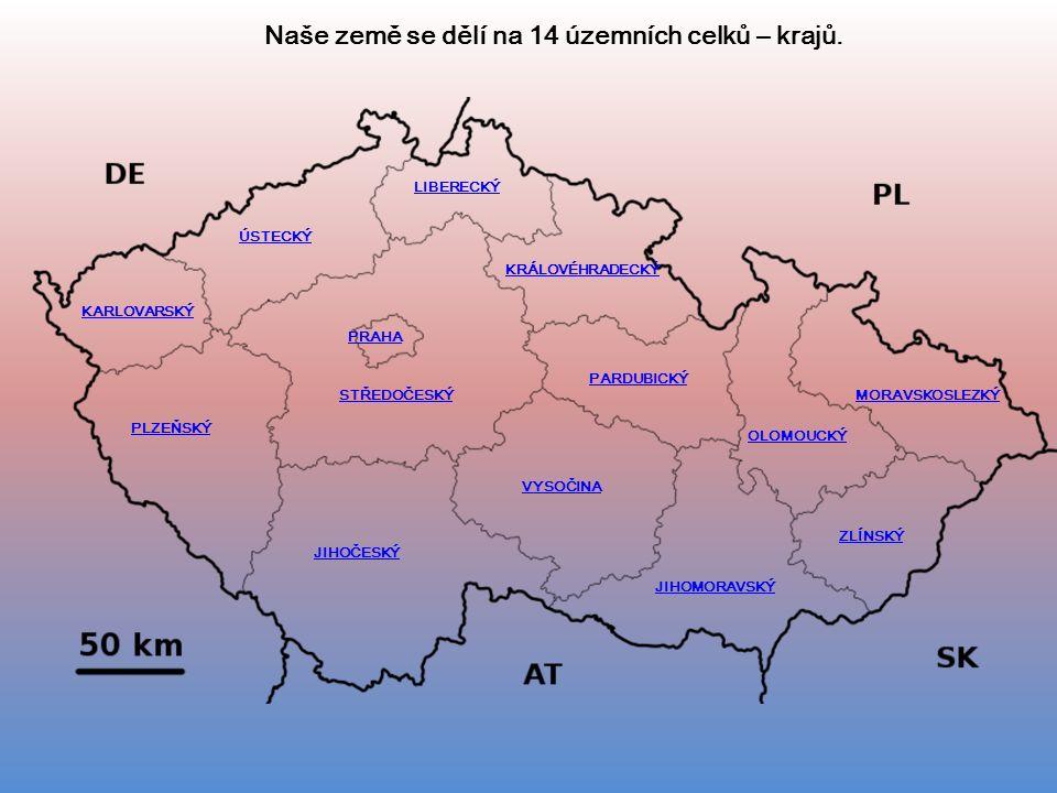 MORAVSKOSLEZKÝ VYSOČINA KRÁLOVÉHRADECKÝ PARDUBICKÝ PLZEŇSKÝ JIHOČESKÝ STŘEDOČESKÝ KARLOVARSKÝ ÚSTECKÝ LIBERECKÝ JIHOMORAVSKÝ ZLÍNSKÝ OLOMOUCKÝ PRAHA Naše země se dělí na 14 územních celků – krajů.