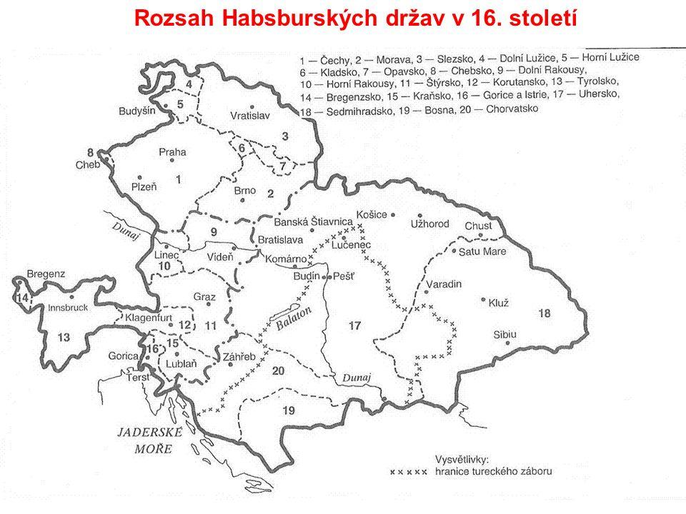 Rozsah Habsburských držav v 16. století