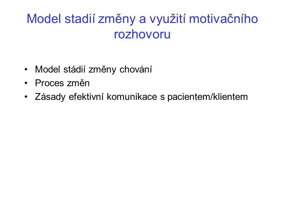 Model stadií změny a využití motivačního rozhovoru Model stádií změny chování Proces změn Zásady efektivní komunikace s pacientem/klientem