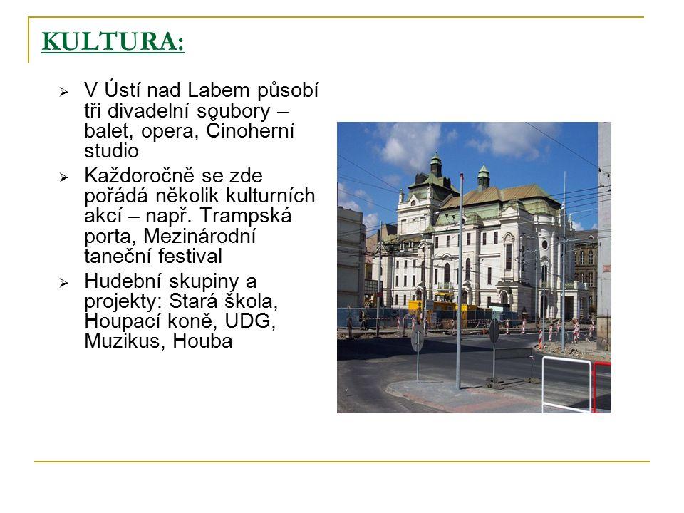 KULTURA:  V Ústí nad Labem působí tři divadelní soubory – balet, opera, Činoherní studio  Každoročně se zde pořádá několik kulturních akcí – např.