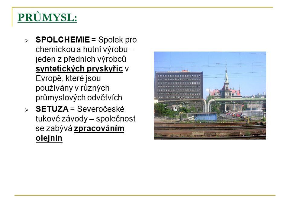 PRŮMYSL:  SPOLCHEMIE = Spolek pro chemickou a hutní výrobu – jeden z předních výrobců syntetických pryskyřic v Evropě, které jsou používány v různých průmyslových odvětvích  SETUZA = Severočeské tukové závody – společnost se zabývá zpracováním olejnin