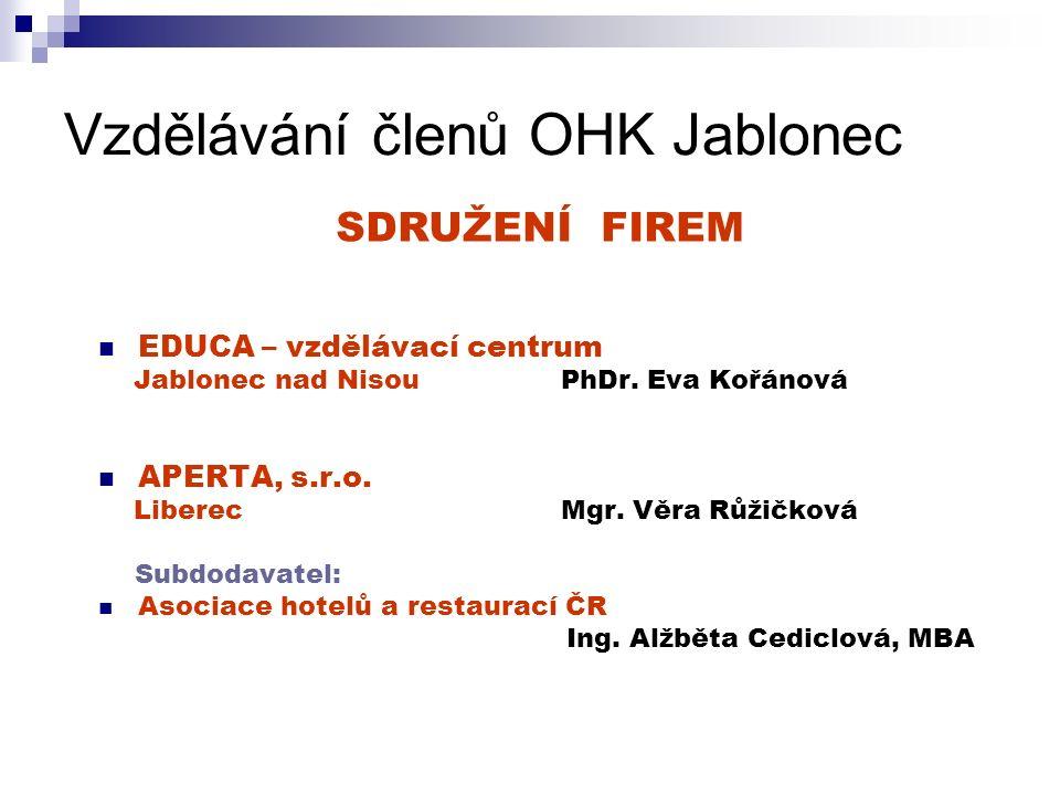 Vzdělávání členů OHK Jablonec EDUCA – vzdělávací centrum Jablonec nad Nisou PhDr.