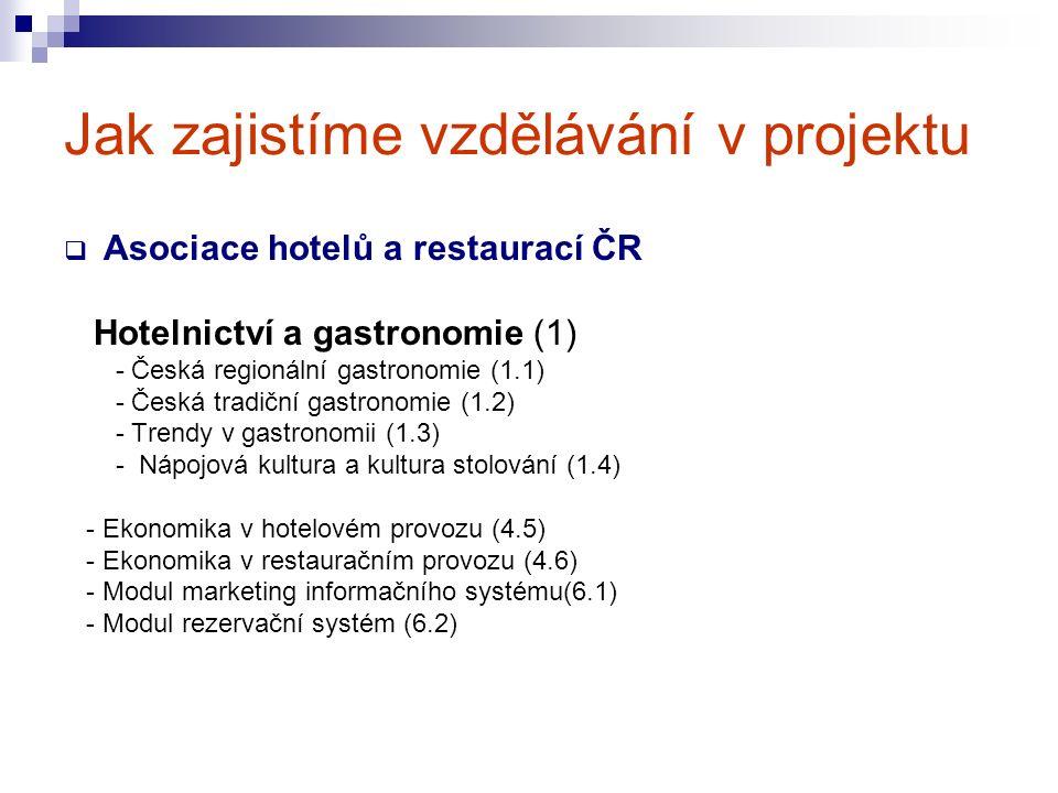 Jak zajistíme vzdělávání v projektu  Asociace hotelů a restaurací ČR Hotelnictví a gastronomie (1) - Česká regionální gastronomie (1.1) - Česká tradiční gastronomie (1.2) - Trendy v gastronomii (1.3) - Nápojová kultura a kultura stolování (1.4) - Ekonomika v hotelovém provozu (4.5) - Ekonomika v restauračním provozu (4.6) - Modul marketing informačního systému(6.1) - Modul rezervační systém (6.2)