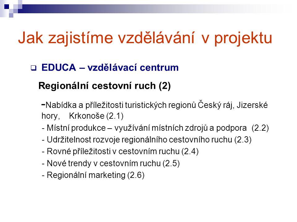 Jak zajistíme vzdělávání v projektu  EDUCA – vzdělávací centrum Regionální cestovní ruch (2) - Nabídka a příležitosti turistických regionů Český ráj, Jizerské hory, Krkonoše (2.1) - Místní produkce – využívání místních zdrojů a podpora (2.2) - Udržitelnost rozvoje regionálního cestovního ruchu (2.3) - Rovné příležitosti v cestovním ruchu (2.4) - Nové trendy v cestovním ruchu (2.5) - Regionální marketing (2.6)