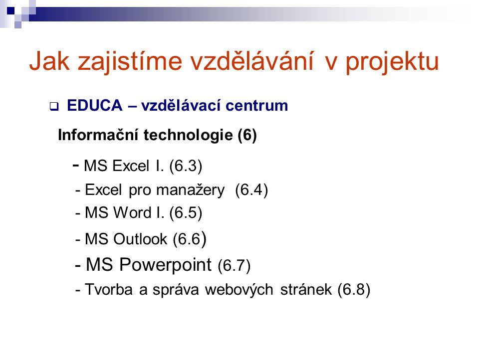 Jak zajistíme vzdělávání v projektu  EDUCA – vzdělávací centrum Informační technologie (6) - MS Excel I.