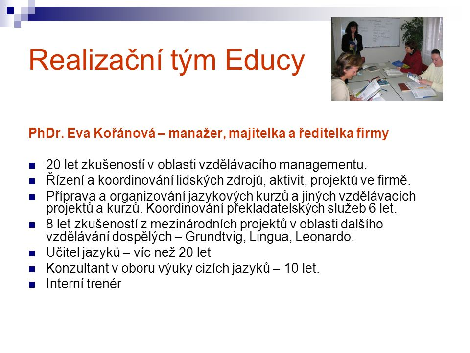 Realizační tým Educy PhDr.