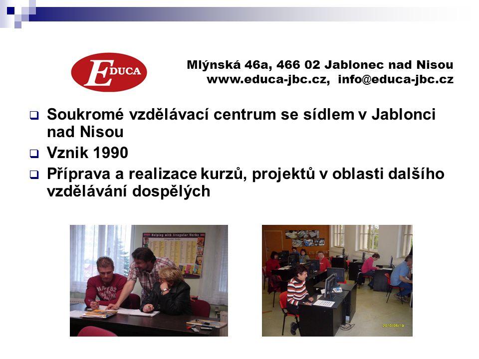  Soukromé vzdělávací centrum se sídlem v Jablonci nad Nisou  Vznik 1990  Příprava a realizace kurzů, projektů v oblasti dalšího vzdělávání dospělých Mlýnská 46a, 466 02 Jablonec nad Nisou www.educa-jbc.cz, info@educa-jbc.cz