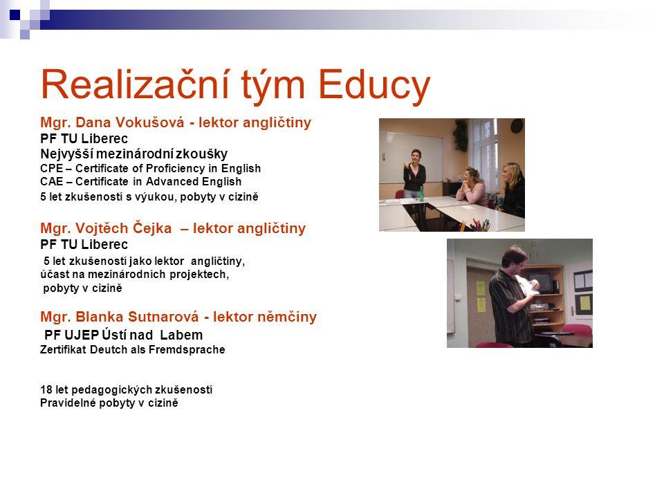 Realizační tým Educy Mgr. Dana Vokušová - lektor angličtiny PF TU Liberec Nejvyšší mezinárodní zkoušky CPE – Certificate of Proficiency in English CAE