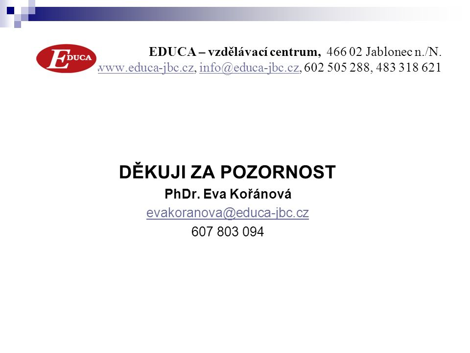 EDUCA – vzdělávací centrum, 466 02 Jablonec n./N.