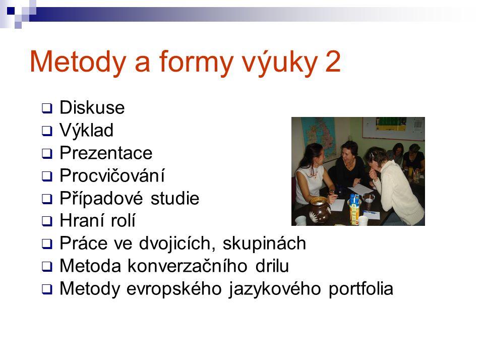 Metody a formy výuky 2  Diskuse  Výklad  Prezentace  Procvičování  Případové studie  Hraní rolí  Práce ve dvojicích, skupinách  Metoda konverzačního drilu  Metody evropského jazykového portfolia