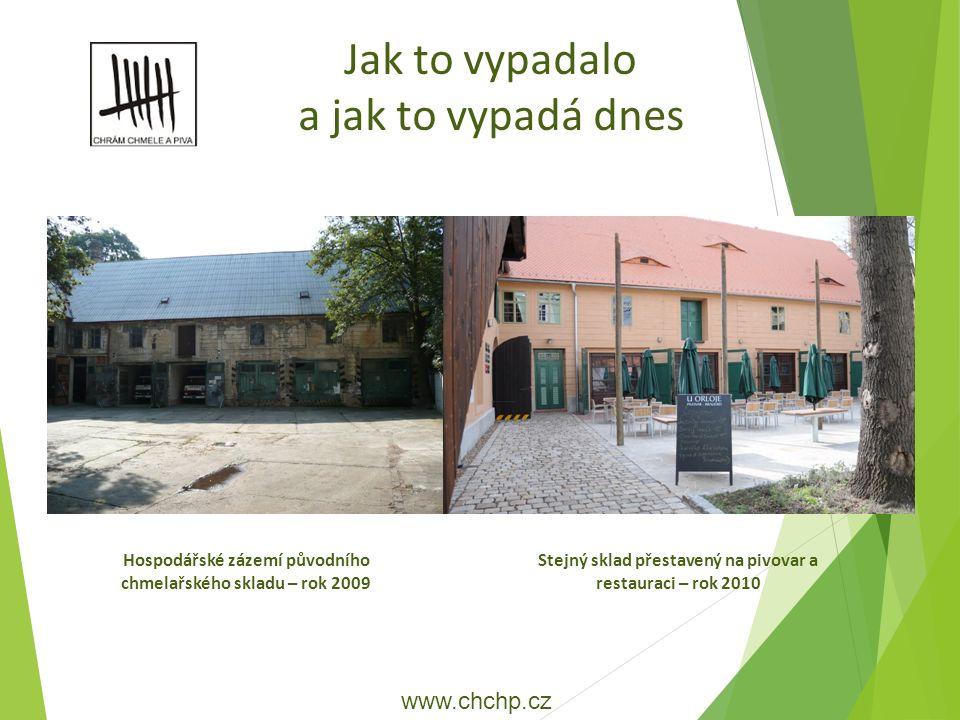 Hospodářské zázemí původního chmelařského skladu – rok 2009 Jak to vypadalo a jak to vypadá dnes Stejný sklad přestavený na pivovar a restauraci – rok 2010 www.chchp.cz