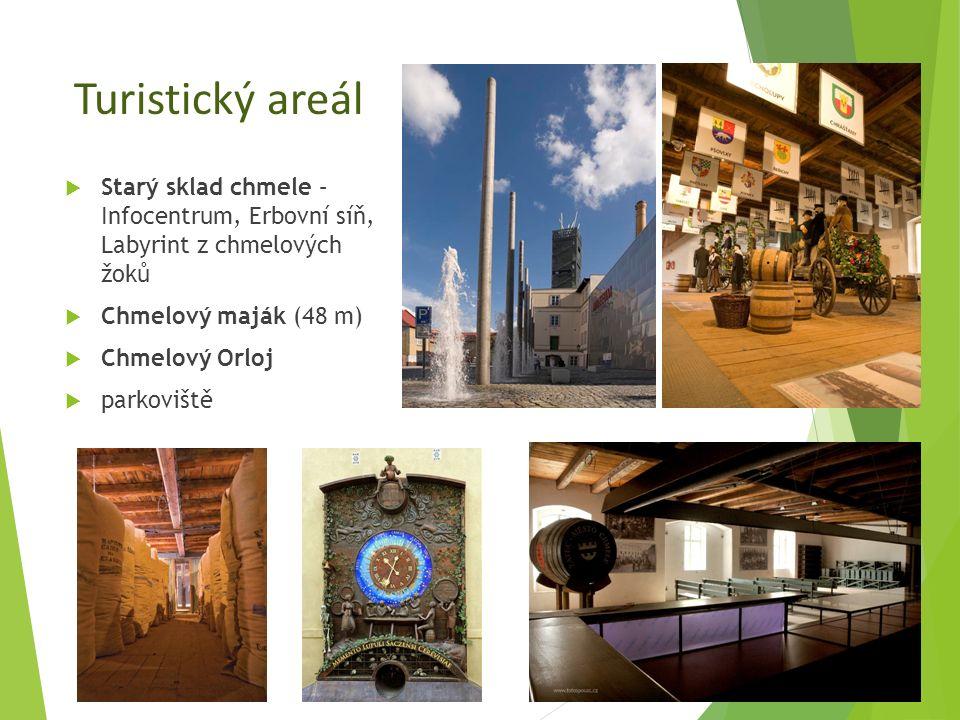 Turistický areál  Starý sklad chmele – Infocentrum, Erbovní síň, Labyrint z chmelových žoků  Chmelový maják (48 m)  Chmelový Orloj  parkoviště