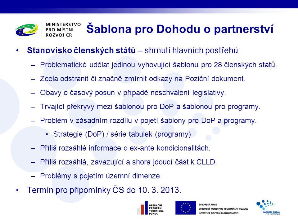 Stanovisko členských států – shrnutí hlavních postřehů: –Problematické udělat jedinou vyhovující šablonu pro 28 členských států.