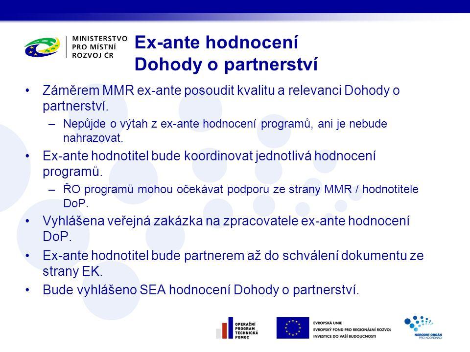 Záměrem MMR ex-ante posoudit kvalitu a relevanci Dohody o partnerství. –Nepůjde o výtah z ex-ante hodnocení programů, ani je nebude nahrazovat. Ex-ant