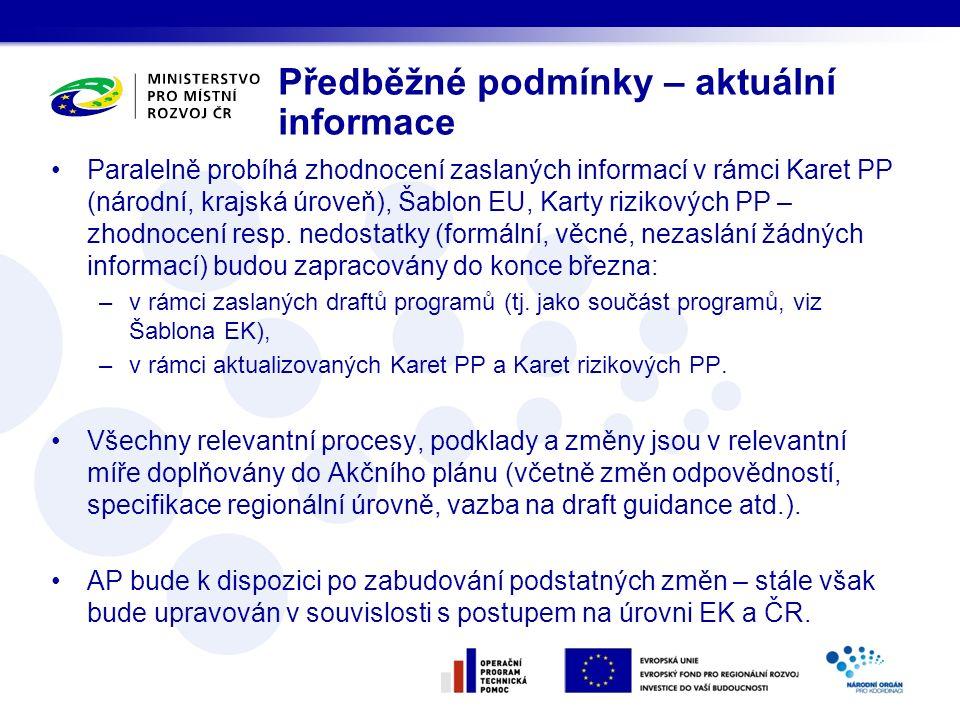 Paralelně probíhá zhodnocení zaslaných informací v rámci Karet PP (národní, krajská úroveň), Šablon EU, Karty rizikových PP – zhodnocení resp.