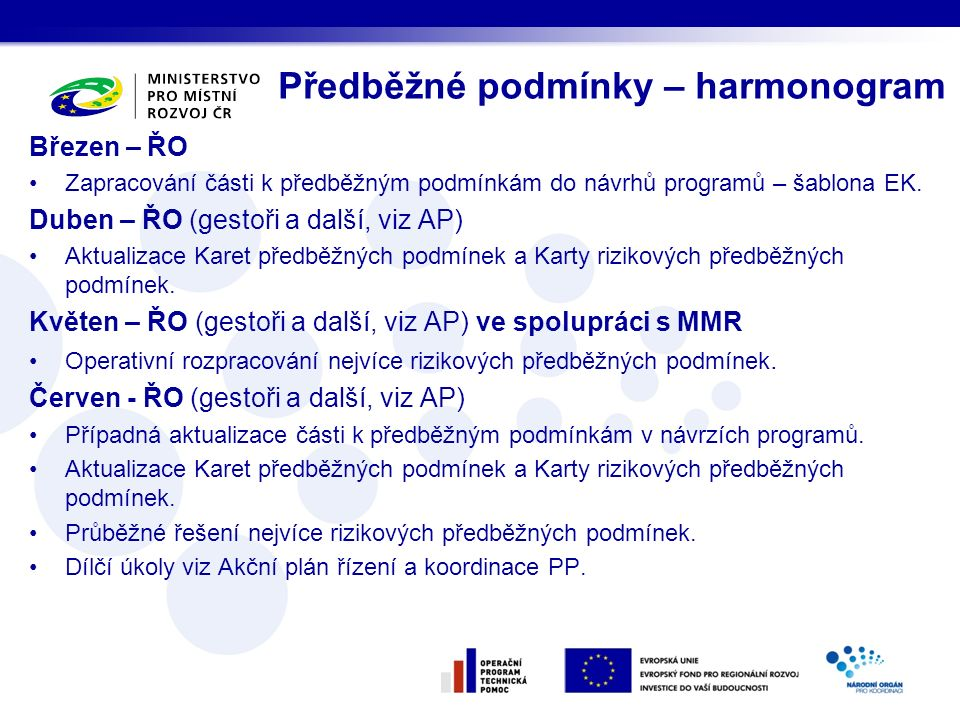 Březen – ŘO Zapracování části k předběžným podmínkám do návrhů programů – šablona EK. Duben – ŘO (gestoři a další, viz AP) Aktualizace Karet předběžný