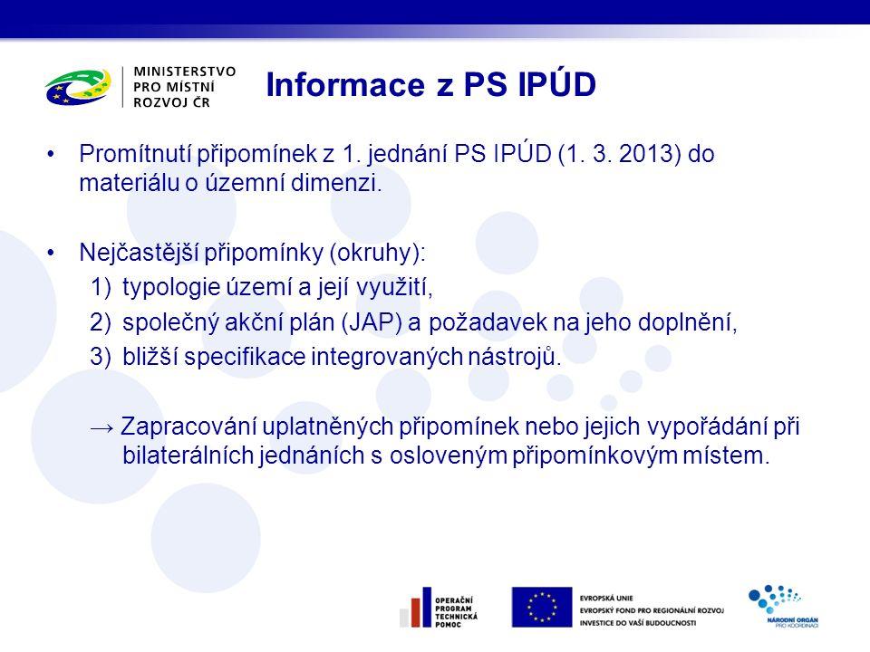 Informace z PS IPÚD Promítnutí připomínek z 1. jednání PS IPÚD (1. 3. 2013) do materiálu o územní dimenzi. Nejčastější připomínky (okruhy): 1)typologi
