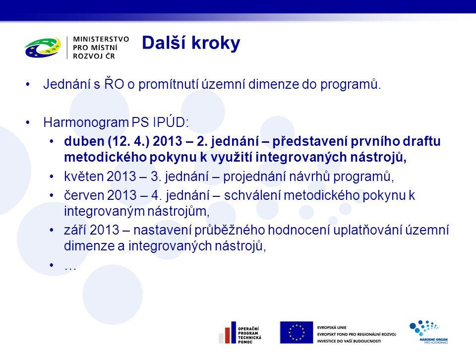 Další kroky Jednání s ŘO o promítnutí územní dimenze do programů. Harmonogram PS IPÚD: duben (12. 4.) 2013 – 2. jednání – představení prvního draftu m