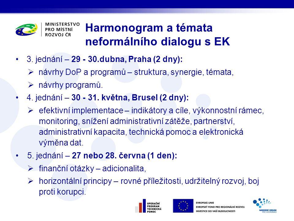 3. jednání – 29 - 30.dubna, Praha (2 dny):  návrhy DoP a programů – struktura, synergie, témata,  návrhy programů. 4. jednání – 30 - 31. května, Bru