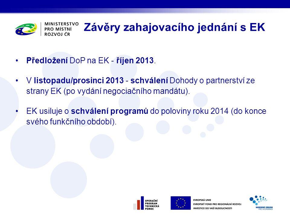 Předložení DoP na EK - říjen 2013. V listopadu/prosinci 2013 - schválení Dohody o partnerství ze strany EK (po vydání negociačního mandátu). EK usiluj